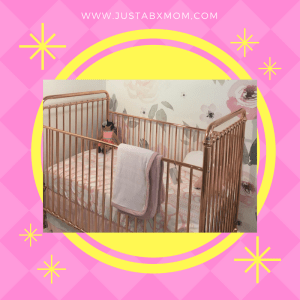 curated nest, rose gold, baby crib
