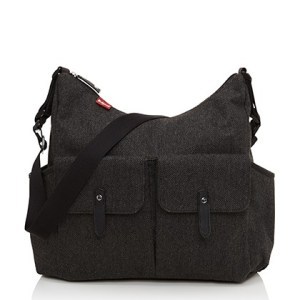diaper bag, grey, tweed, babymel, storksak