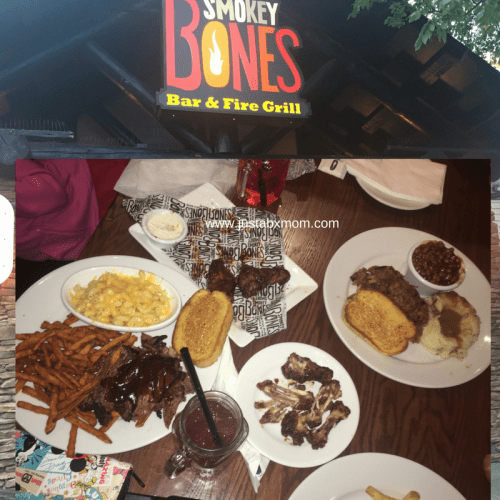 smokey bones, brisket, pulled pork, fries, wings