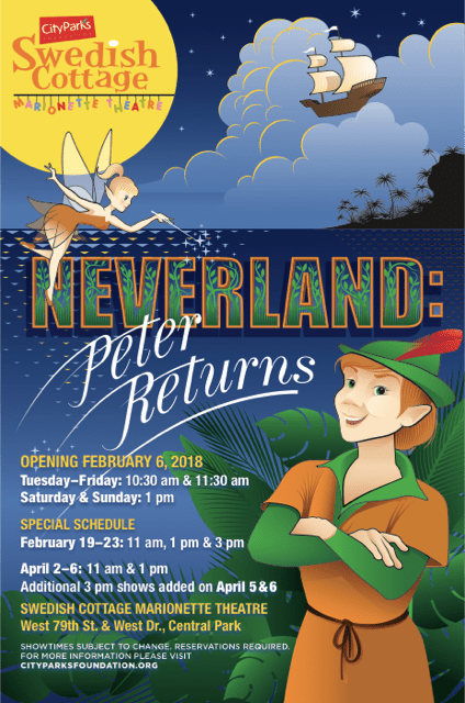 neverland, peter pan, swedish cottage, marionette theatre