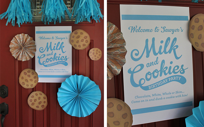Milk and Cookies Birthday Party Front Door Decor