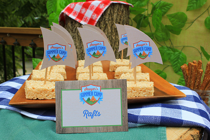 rice krispie rafts, firewood pretzels, trail mix bar, Summer Camp Tablescape, camping, s'mores, kids party, lanterns, trail mix, camping party, summer camp party