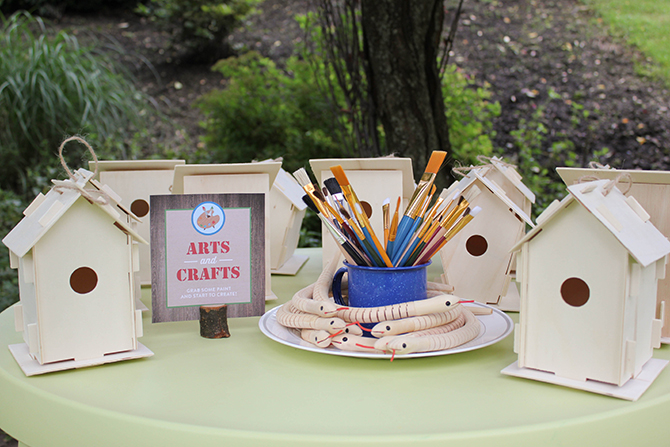 arts and crafts table, camping, s'mores, kids party, lanterns, trail mix, camping party, summer camp party