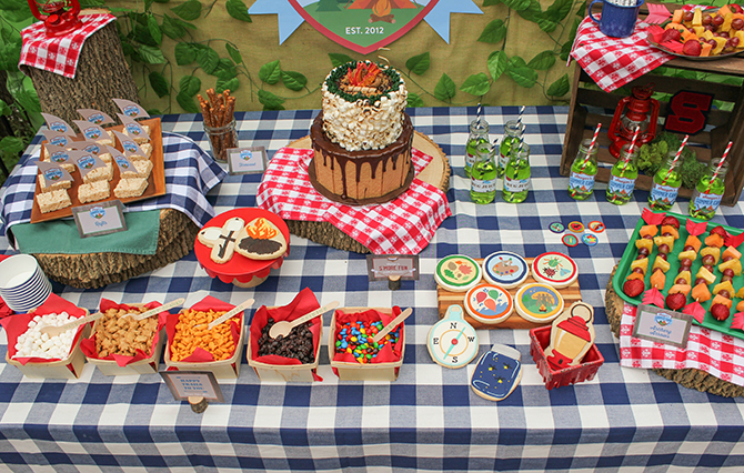 Summer Camp Tablescape, camping, s'mores, kids party, lanterns, trail mix, camping party, summer camp party
