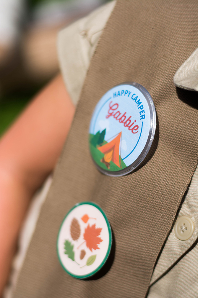Merit Badges, Summer Camp birthday, camping, s'mores, kids party, lanterns, trail mix, camping party, summer camp party