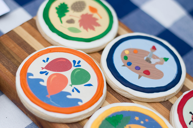 Merit Badge cookies, Summer Camp Tablescape, camping, s'mores, kids party, lanterns, trail mix, camping party, summer camp party