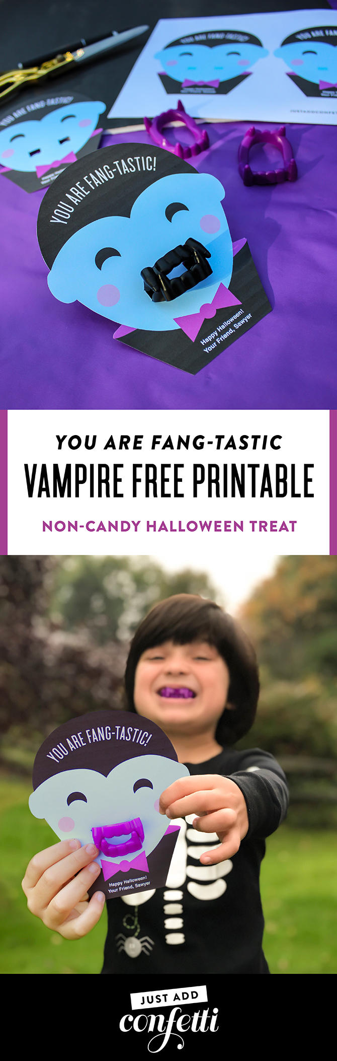 vampire free printable, you are fangtastic, kids halloween favor, halloween classroom treat, non-candy halloween treat, halloween treat, kids non-candy halloween treat, free printable, just add confetti, vampire, vampire fangs, plastic fangs, kids halloween, halloween fun, printable