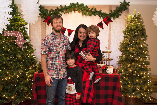 Pancakes, Pajamas and Plaid, Pancakes, Pajamas, Kids Christmas Party, Plaid, Buffalo Plaid, Christmas, Christmas Party, Oriental Trading, Believe in the Beard, Hot Cocoa Bar, Hot Chocolate Bar, free printables, decorate your own pancakes, DIY hot chocolate bar, just add confetti, pittsburgh blogger, buffalo plaid tablescape
