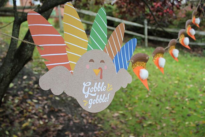 Pumpkin pie banner, DIY paper plate pie banner, diy, kids craft, kids thanksgiving craft, pumpkin pie, fall decor, fall party decor, fall home decor, free printable, just add confetti, turkey printable, free turkey printable,