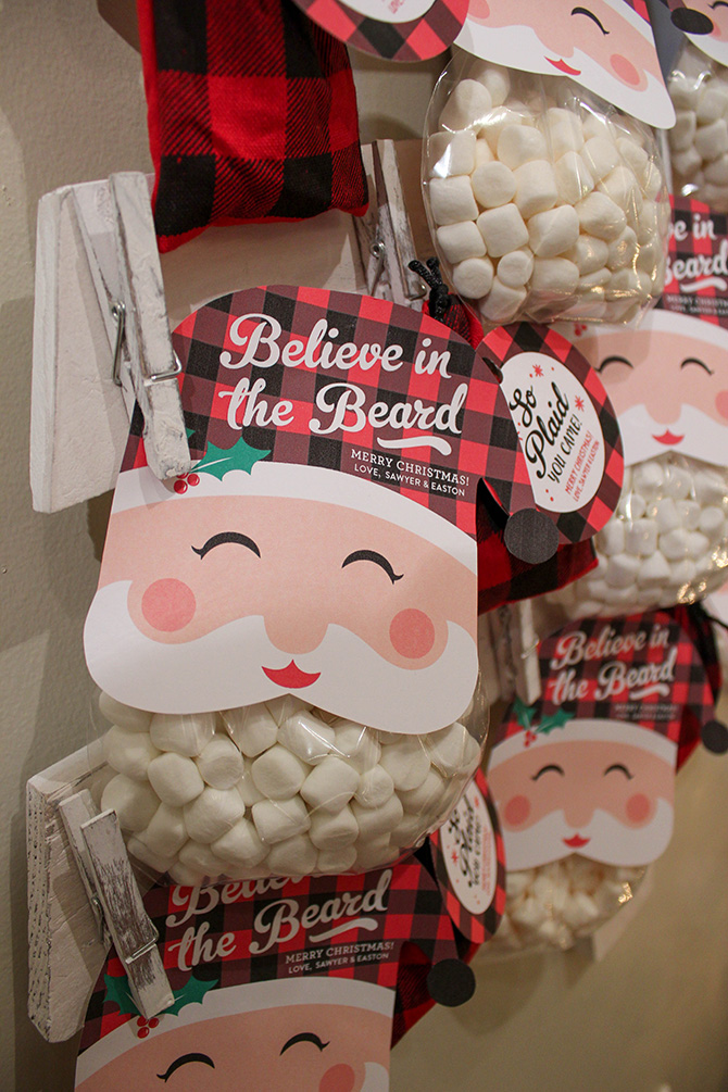 Believe in the beard santa free printable, believe in the beard, santa printable, classroom treat, christmas favor, christmas treat, kids christmas treat, santa marshmallow treat, just add confetti, free printable, santa free printable, just add confetti printables, buffalo plaid, kids christmas party, creative party favor, graphic design, editable pdf, party blogger, pittsburgh blogger