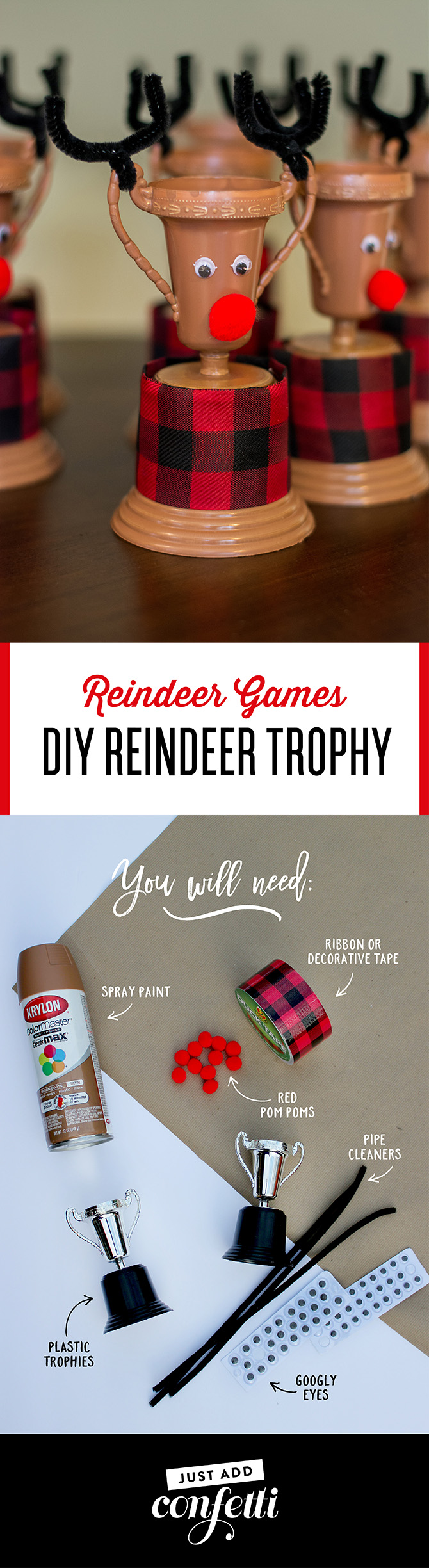 reindeer games, reindeer trophy, diy reindeer trophy, diy reindeer trophy craft, just add confetti, kids christmas party, christmas party, reindeer trophy craft, pittsburgh blogger, party blogger, unique favor, reindeer games trophies, oriental trading, brand partnership