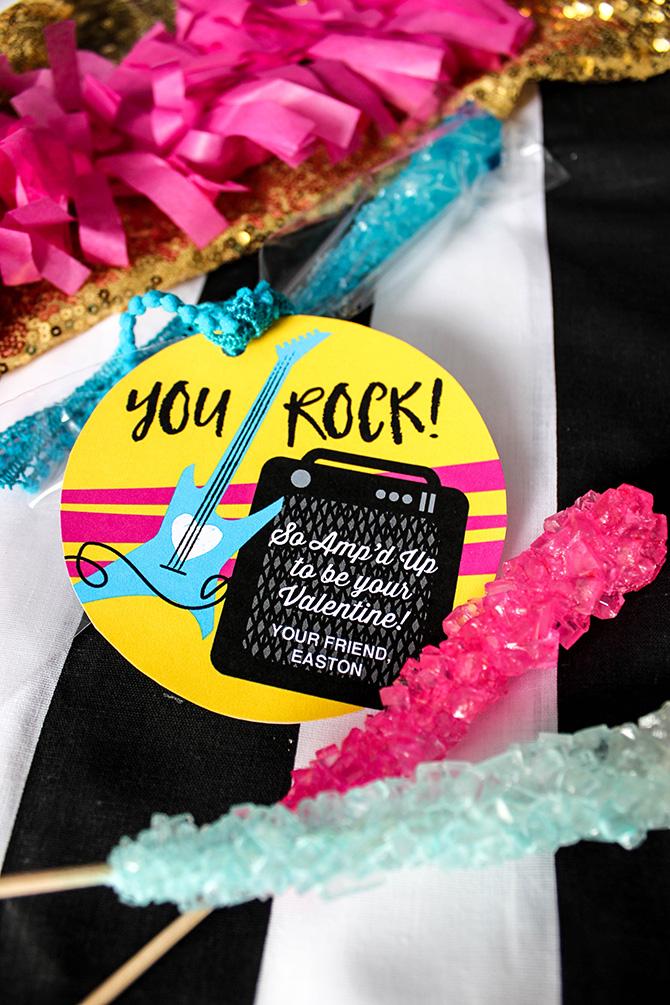 You Rock! Amp'd Up Valentine, You Rock, Amp'd Up, valentine, valentine printable, classroom valentine, valentine free printable, free printable, kids valentine, school valentine, easy valentine, Just Add Confetti, Just Add Confetti printables, rock star valentine, guitar valentine, amp valentine,