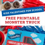 monster truck donut valentine, truck valentine, kids classroom valentine, kids valentines, donut tire valentine, truck with donut tires, I wheelie like the way you roll, diy kids valentine, just add confetti, free printable, just add confetti printables, free valentine, free valentine printable, creative valentine, kids valentines for school,
