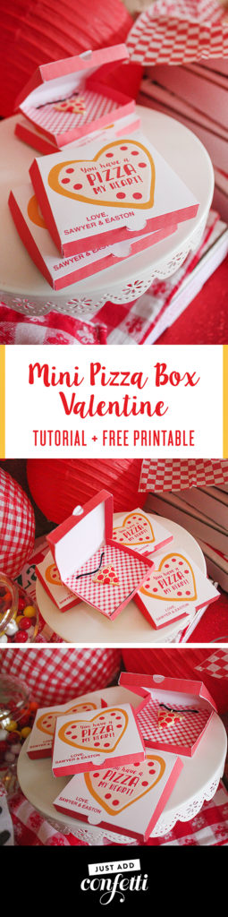 Mini Pizza Box Valentine, classroom valentine, free printable, Just Add Confetti printable, free valentine printable, tutorial, Valentine's Day pizza party, valentines day, you have a pizza my heart, partnership, oriental trading, free printable, pizza valentines, pizza party, just add confetti, pizza box printable, creative valentines,