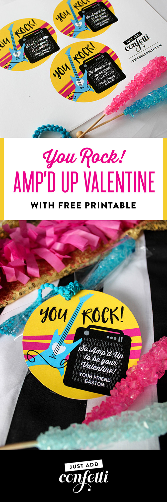 You Rock! Amp'd Up Valentine, You Rock, Amp'd Up, valentine, valentine printable, classroom valentine, valentine free printable, free printable, kids valentine, school valentine, easy valentine, Just Add Confetti, Just Add Confetti printables, rock star valentine, guitar valentine, amp valentine,