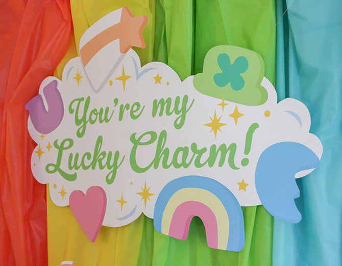 """""""You're my Lucky Charm"""" St. Patrick's Day party, You're my Lucky Charm, St. Patrick's Day party, lucky charm, cereal party, cereal-sly lucky, kids party, kid's St. Patrick's Day party, free printables, pastel rainbow, rainbow cupcakes, Lucky Charms cake, Just Add Confetti, Just Add Confetti printables, Lucky Charms, Lucky Charms cereal, inexpensive parties, easy parties, party on a budget, budget-friendly parties, lucky, what I lack in luck I make up for in charm, charm, leprechaun, party blogger, Pittsburgh party blogger, creative food"""