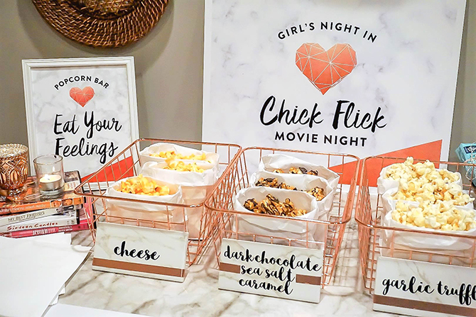 chick flick movie night, girls night out, girls night in, free printables, movie night, movie night party, chick flick movie party, just add confetti, legally crafty blog, partnership, chick flick bingo, movie quote trivia, popcorn bar