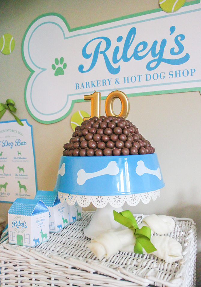 Riley's Barkery and Hot Dog Shop, dog party, puppy party, barkery, hot dog party, dog birthday party, DIY hot dog bar, puppy chow chocolate malt ball birthday cake, Just Add Confetti,