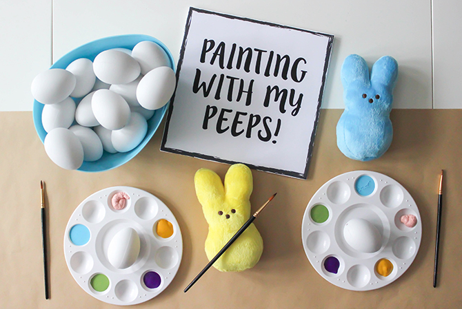 Painting With My Peeps, egg coloring party, Easter, Easter Party, peeps, peeps and eggs, happy color, make everyday fun, bring the fun, Just Add Confetti, Just Add Confetti free printables, free printables, happy easter to one of my favorite peeps, painting eggs, painting cookies, edible paint, kids easter party, kids party, creative kids