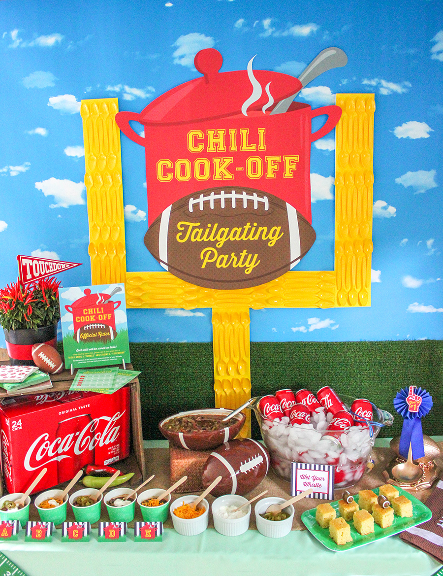 Chili Cook-Off Tailgating Party, partnership with Coca-Cola, chili party, football party, tailgating party, chili cook-off, Just Add Confetti, party blogger, brand partnership, walmart, coca-cola, #KickoffWithGreatTaste, free printables, party printables, graphic design, Just Add Confetti printables, Pittsburgh blogger