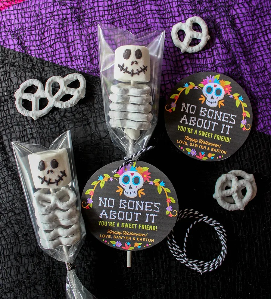 marshmallow and pretzel skeletons, no bones about it, Just Add Confetti, free printable, day of the dead, sweet Halloween treat, marshmallow skeleton, white chocolate covered bones, white chocolate covered skeleton, kids Halloween, graphic design, Just Add Confetti printables, No Bones About It—You're a Sweet Friend, Halloween,