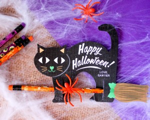 Black Cats Riding Pencil Brooms: Non-candy Halloween Treat Idea