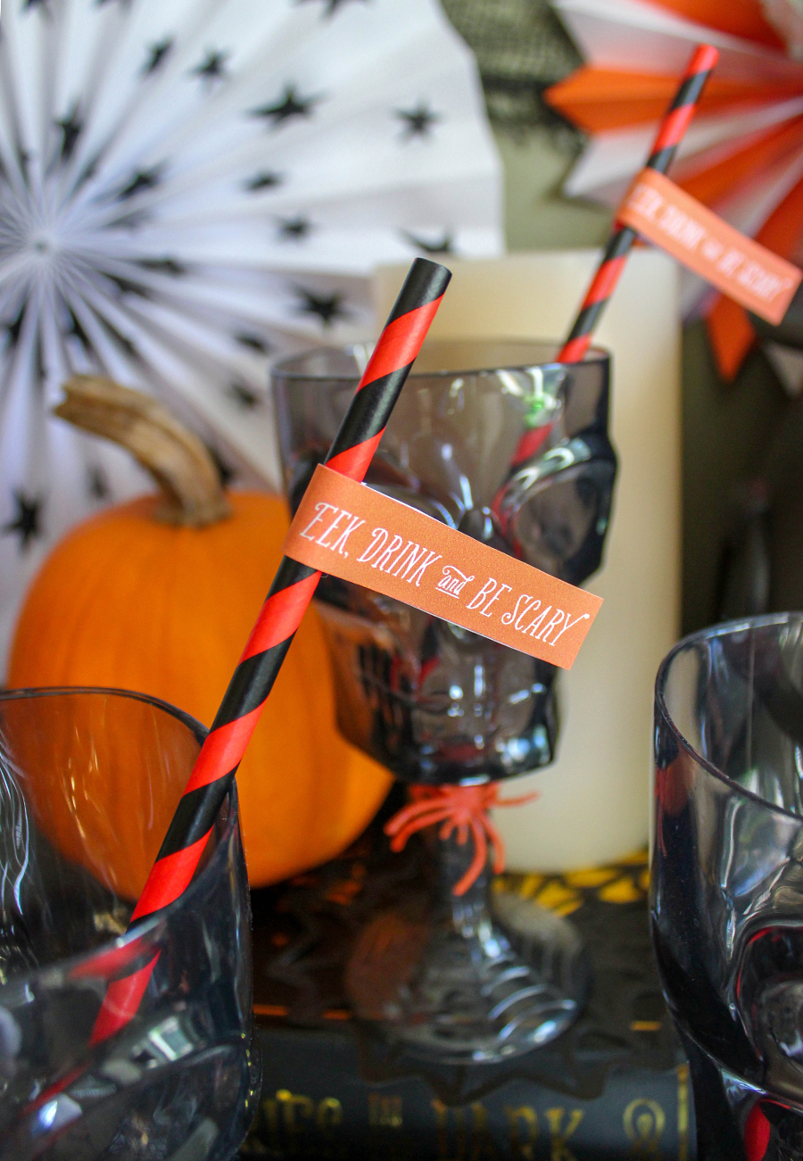 Boos and Bubbly Bar, Halloween party idea, Halloween party, Halloween bubbly bar, boos bar, boos, party table, tablescape, Just Add Confetti, Pittsburgh blogger, party blogger, party ideas, eek drink and be scary, cauldron bubbles, champagne, Halloween fun, Boos and Bubbly Bar: Halloween Party Idea