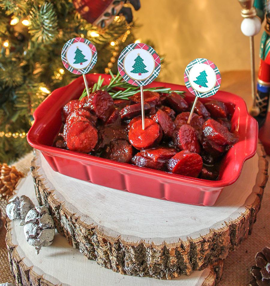 Deck the Halls Tree Trimming Party, Christmas Party, Cranberry Vanilla Coke-tail, Coca-Cola, Just Add Confetti, Free Printables, Brand Partnership, charcuterie board, gorgonzola loaf, sun-dried tomatoes, pesto, gorgonzola cheese, charcuterie, kielbassa, recipes, DIY ornaments, apple cinnamon ornaments, Christmas tree, Christmas ornaments, Christmas, Party blogger, Pittsburgh blogger,