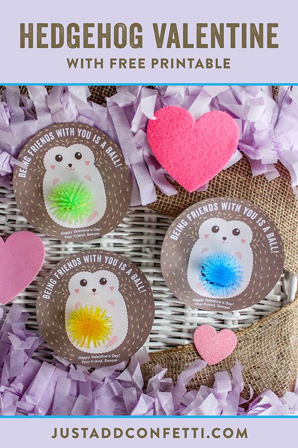 Hedgehog Kids Valentine, hedgehog, valentine, kids valentine, free printable, valentine free printable, Just Add Confetti, Just Add Confetti printable, diy kids valentine, Being friends with you is a ball, ball valentine, non-food valentine, non-candy valentine, classroom valentine, kids classroom valentine, bouncy ball, toy ball valentine, hedgehog valentine