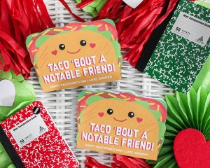 Taco Notebook Kids Valentine (with free printable)