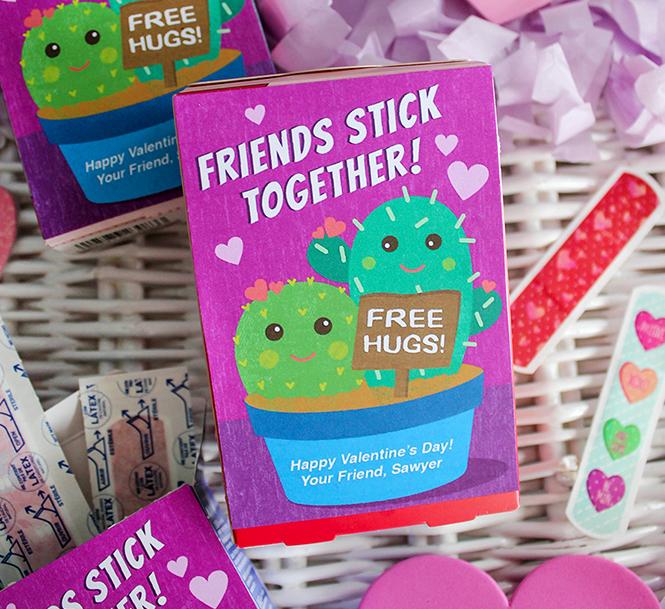 free hugs, cactus bandage box valentine, valentine, kids valentine, school valentine, classroom valentine