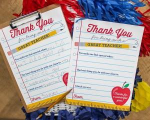Thank You Note Teacher Appreciation Free Printable