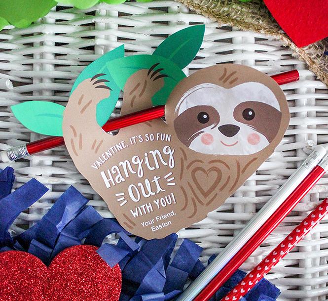 sloth, sloth valentine, kids valentine, classroom valentine,