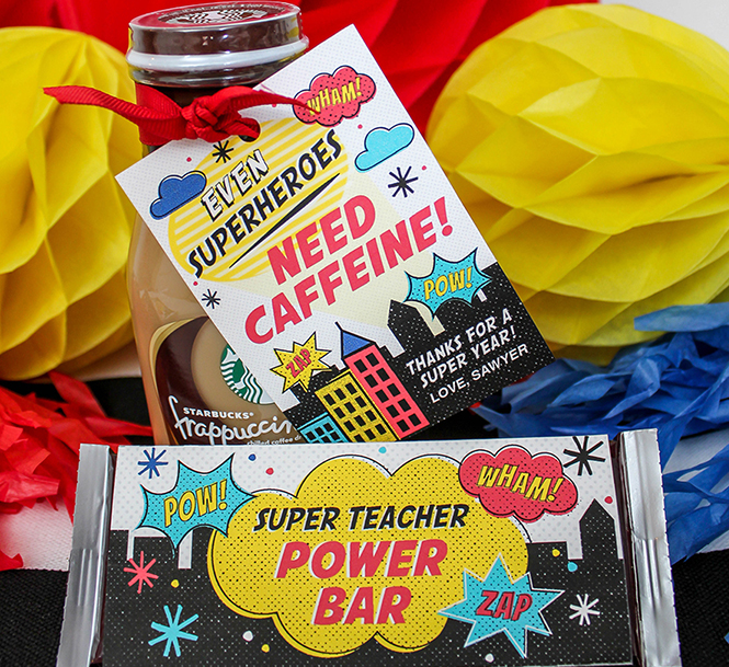 superhero teacher gift, super teacher, superhero, teacher appreciation, teacher gift, free printable gift tag, gift tags, teacher, school,