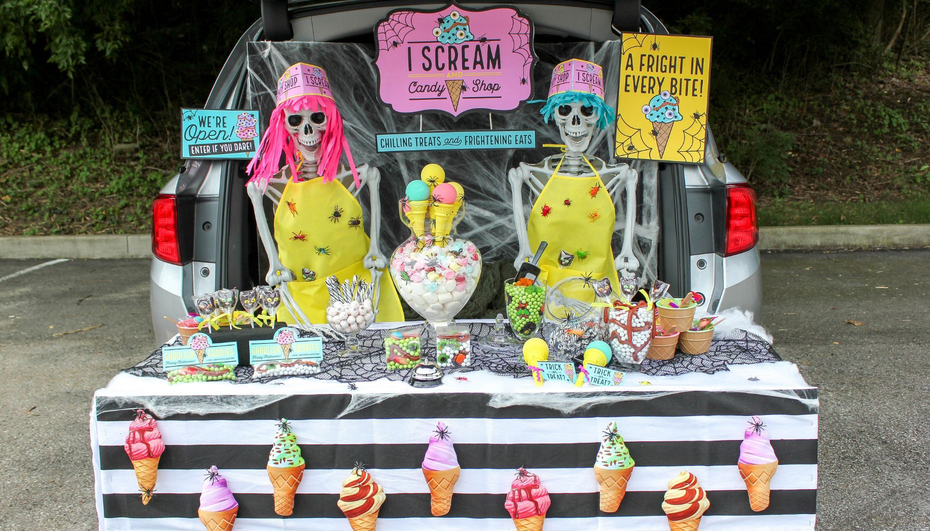 I scream and candy shop trunk or treat idea, ice cream and candy shop, halloween, trunk or treat, candy shop trunk or treat, skeleton candy shop trunk or treat, skeletons, halloween ice cream shop, Just Add Confetti, free printables, Fun365, Oriental Trading, halloween ice cream, I scream, halloween candy shop
