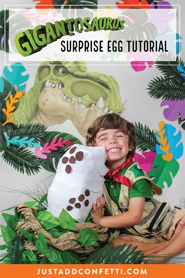 Gigantosaurus, Gigantosaurus toys, toys, dino-mite, dinosaur, giganto, Disney Junior, tv show, Disney Junior TV show, free printable, dinosaur toys, Gigantosaurus party favor tag, favor tag, free party printable, surprise egg, surprise egg craft tutorial, Gigantosaurus surprise egg, Just Add Confetti, party blogger, Pittsburgh blogger, partnership, sponsored, toy surprise egg, egg, Gigantosaurus egg, dinosaur egg, Giganto egg,
