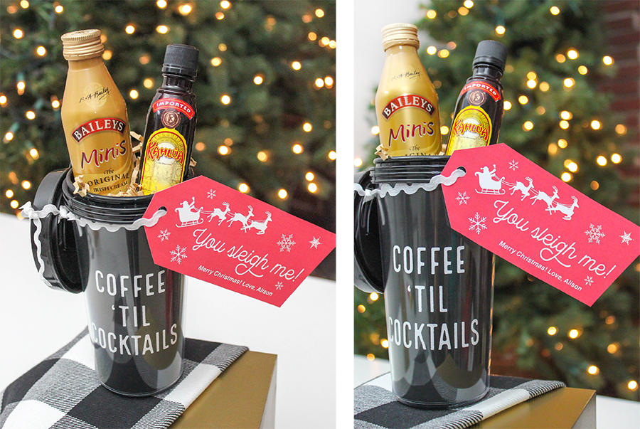 coffee 'til cocktails, you sleigh me, you sleigh, coffee, cocktails, christmas gift, DIY coffee tumbler, Just Add Confetti, free printables, mini bottles of liquor, girlfriend gift, Just Add Confetti 12 Days of Holiday Gift Ideas, DIY Christmas gifts, diy gift ideas, gift ideas