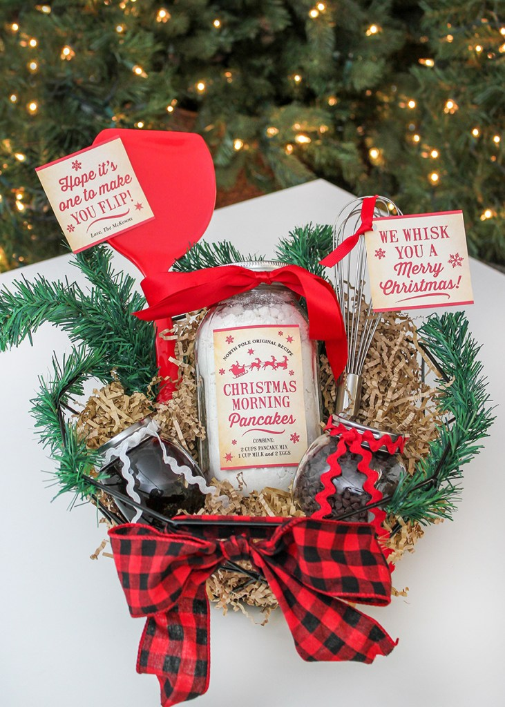 Christmas morning pancakes gift idea, Christmas morning pancakes, gift idea, neighbor gift, Christmas gift, free printables, etsy, pancakes, we whisk you a Merry Christmas, Hope it's one to make you flip, whisk, spatula, pancake gift basket, DIY Christmas gifts, Just Add Confetti, Just Add Confetti's 12 Days of Holiday Gift Ideas,