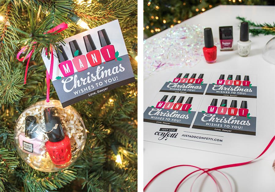 Mani Christmas Wishes nail polish gift idea, nail polish, mani, manicure, diy Christmas gift, Christmas gift ideas, Just Add Confetti, mani in ornament, diy christmas ornament, Mani Christmas wishes to you, free printable