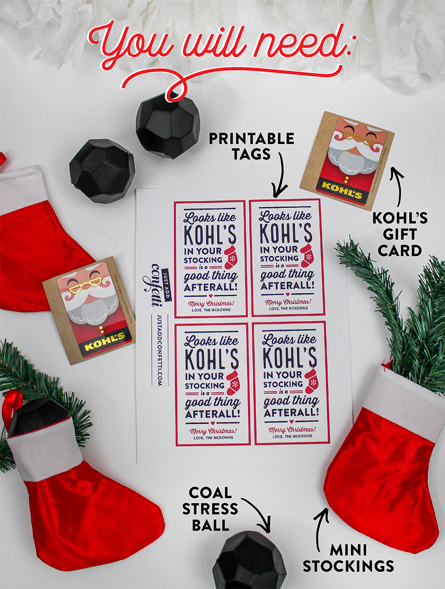 Kohl's Christmas Gift Card Idea, Kohls, Kohl's, gift card, coal, stocking, coal stress ball, coal in your stocking, 12 Days of Holiday Gift Ideas, Just Add Confetti, free printable, etsy