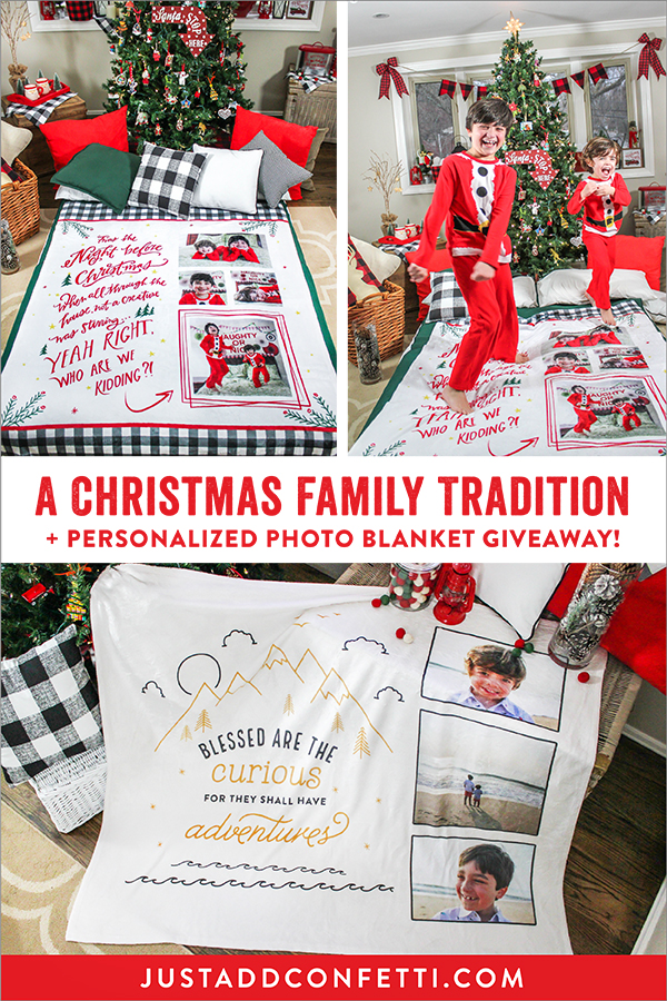 FOTO Vision, twas the night before Christmas, blanket, Christmas blanket, giveaway, brand partnership, blanket giveaway, A Christmas Family Tradition + Unique Gift Idea + Giveaway!, gift blankets, photo gift blankets, Just Add Confetti, Christmas traditions, Pittsburgh blogger, family, Family traditions, adventure theme, adventure blanket, blessed are the curious for they shall have adventures, blessed are the curious, adventure photo blanket