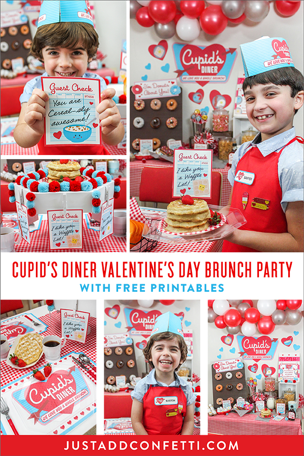Valentine's Day family brunch, Valentine's Day, retro diner, brunch, we love you a whole brunch, kids valentines, party printables, Cupid's Diner, I like you a waffle lot, you are egg-cellent, Don't go bacon my heart, Just Add Confetti, Oriental Trading, Fun365, I'm donuts about you, Valentine's Day party, free printables, puns, Valentine's Day puns, guest check, retro diner order stand DIY, retro menu board DIY