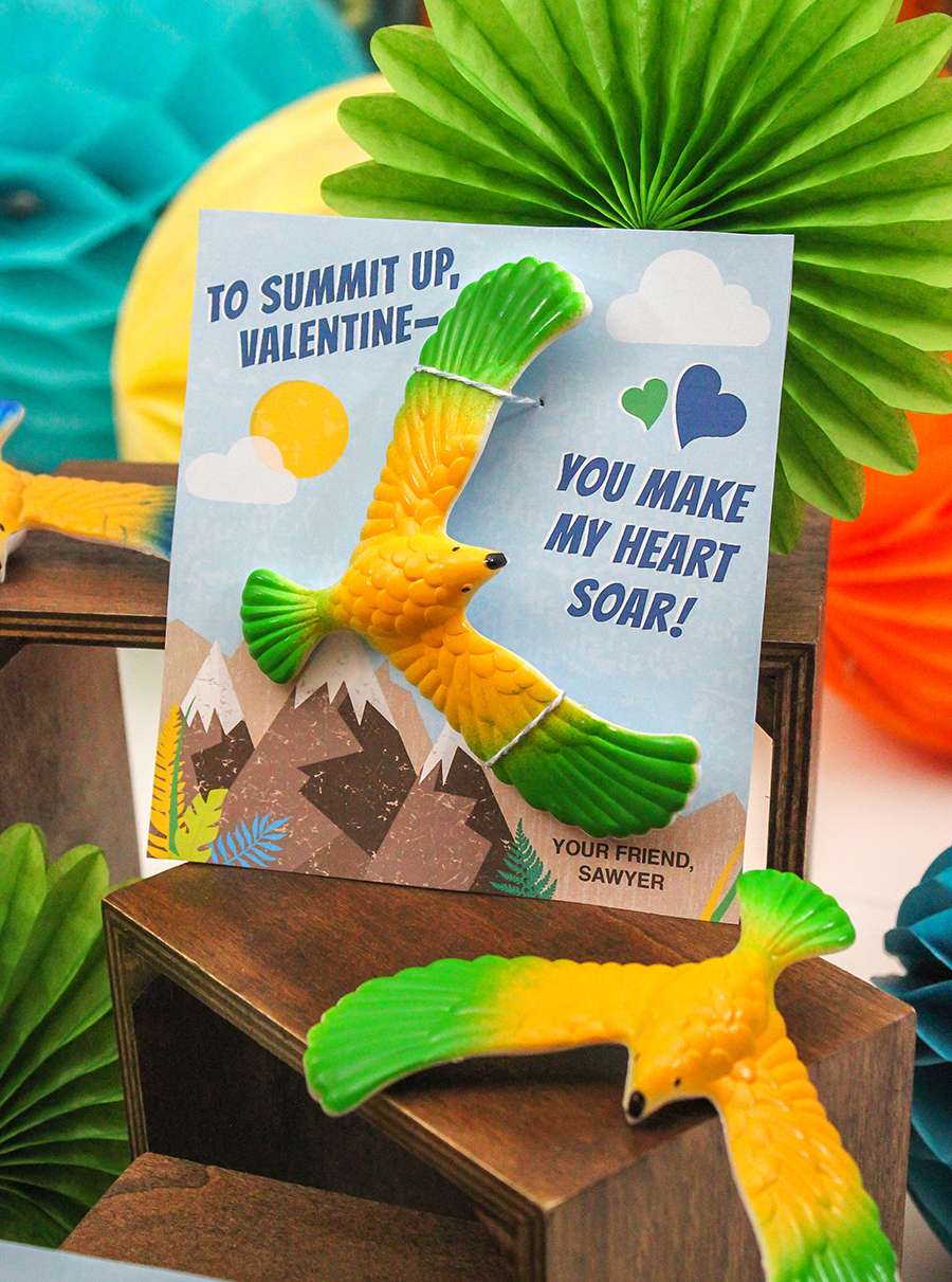 bird valentine, soaring heart bird valentine, kids valentine, bird kids valentine, Just Add Confetti, free printable, Etsy shop, classroom valentine, balancing bird, summit up, mountains, sky, soar, eagle, you make my heart soar, to summit up
