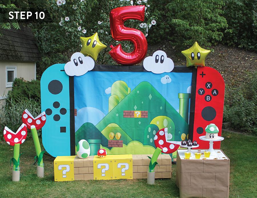 DIY Nintendo Switch Party Backdrop, DIY party decorations, Super Mario Party decorations, craft tutorial, Nintendo switch, Just Add Confetti, party backdrop, nintendo backdrop, nintendo switch backdrop, DIY party decor