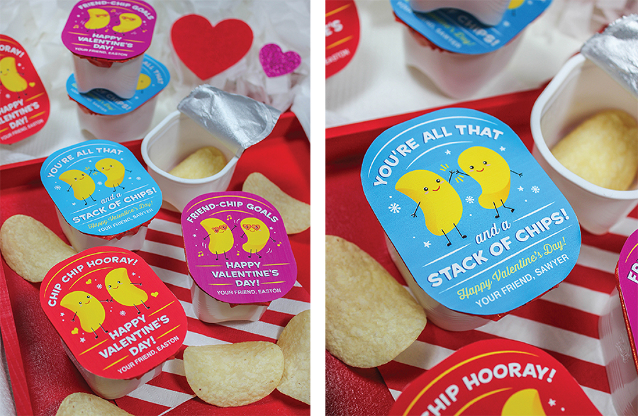 """kids valentine printable, kids valentines, Valentine's Day, Valentine's Day card, potato chip valentine, Pringles valentine, Etsy shop, Just Add Confetti, classroom valentine, school valentine, chips, friend-chip goals, all that and a stack of chips, chip chip hooray, snack size Pringles, """"You're all that and a stack of chips"""" Pringles Kids Valentine Idea"""