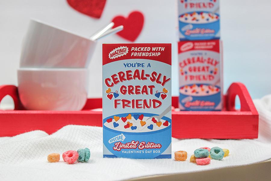 Mini Cereal Box Kids Valentine, kids valentine, cereal-sly, valentine printable, Just Add Confetti, school valentine, classroom valentine, cereal, cereal box, cereal box label, nutrition label, Cereal-sly great friend, Etsy, Etsy shop, creative valentine, printable, Valentine's Day