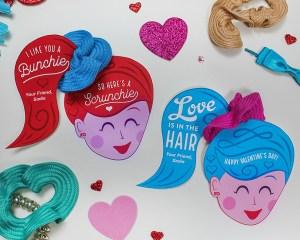 """""""Love is in the Hair"""" Scrunchie Kids Valentine Idea"""
