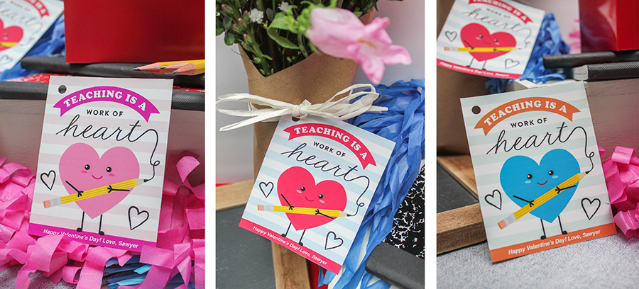 Valentine's Day gift ideas for teachers, teacher gifts, teacher appreciation, gift tags, printable gift tags, valentines, school valentines, Just Add Confetti, etsy shop, teaching is a work of heart, heart