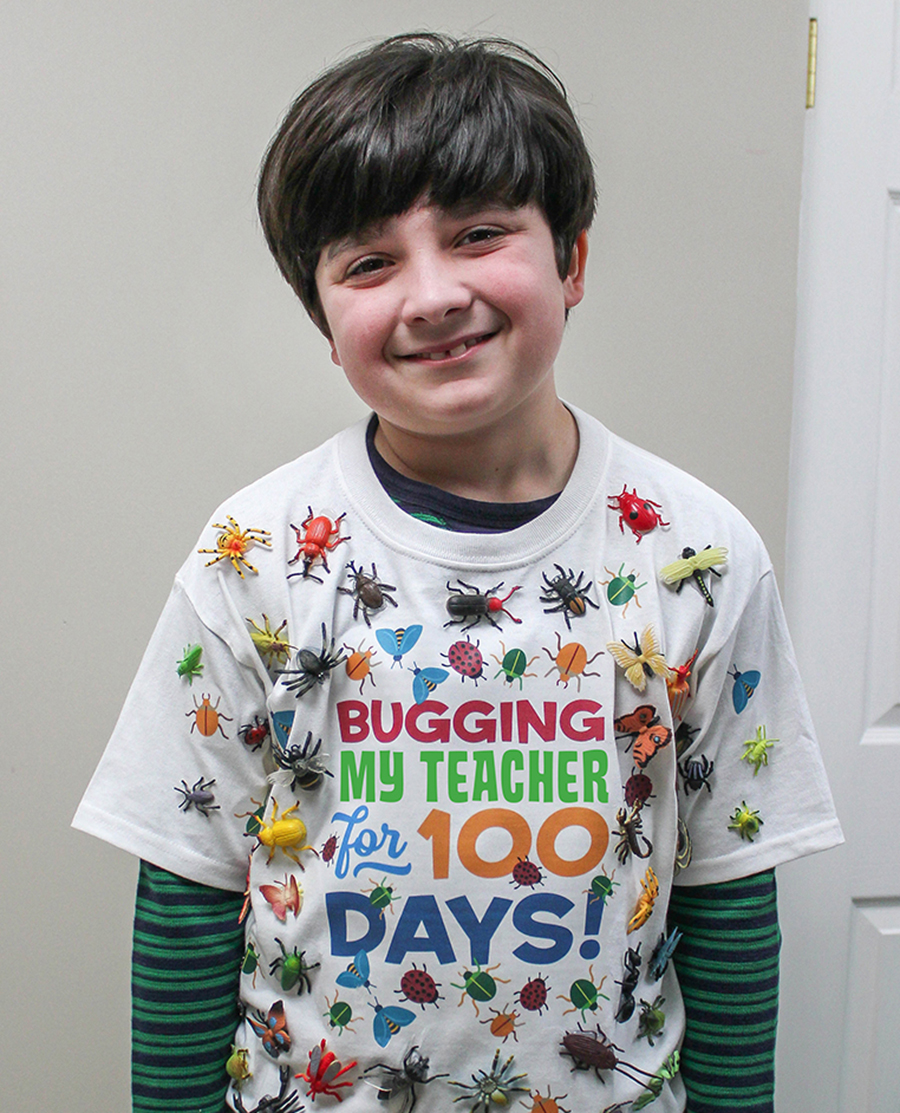 Bugging My Teacher for 100 Days shirt, 100 days, 100 days shirt idea, 100 days school celebration, bug shirt, Just Add Confetti, free printable, free iron on transfer graphic, Bugging my teacher for 100 days shirt idea, 100 days of school ideas, kids craft, kids shirt craft