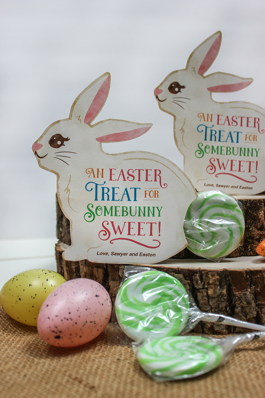 Easter bunny lollipop gift idea, bunny tail, lollipop, bunny, An Easter Treat for Somebunny Sweet, Just Add Confetti, Easter gift, party favor, classroom gift, Easter gift tag, bunny printable card, bunny gift tag, Easter printable, Etsy,